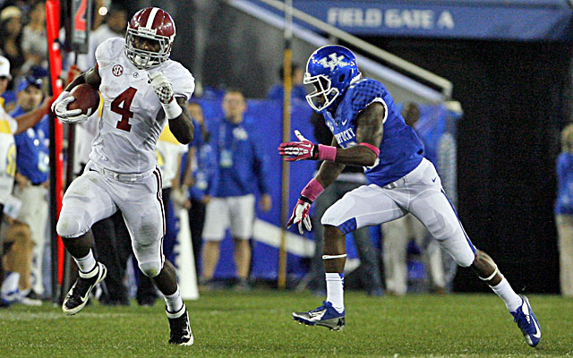Alabama's T.J. Yeldon runs for a pair of touchdowns against Kentucky. (USATSI)