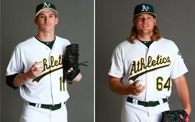 The A's are likely to be without Parker (l.) and Griffin when the season starts.
