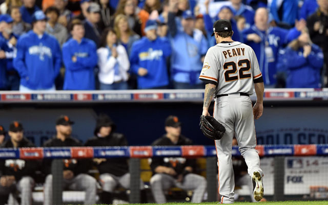 Jake Peavy exits after a very short outing in Game 6.