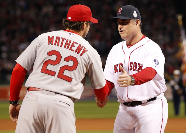 Is it possible that Mike Matheny (left) and John Farrell have too much starting pitching on hand? (USATSI)