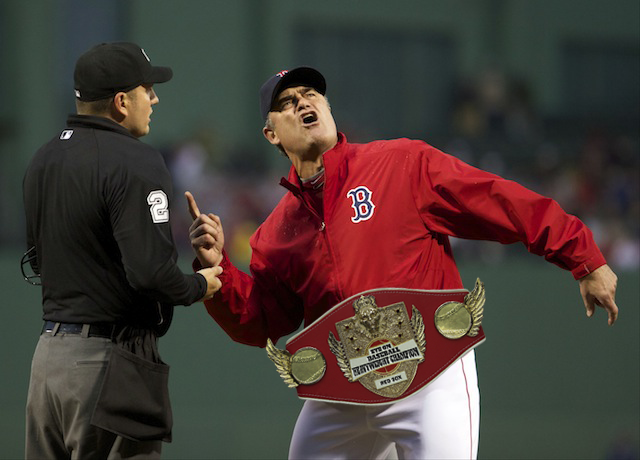 'Woooooo,' says Red Sox manager John Farrell. (USATSI)