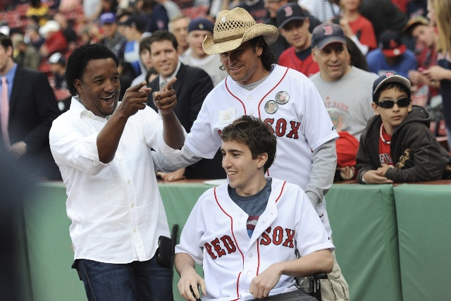Pedro Martinez meets Boston hero Carlos Arredondo and victim Jeff Bauman.