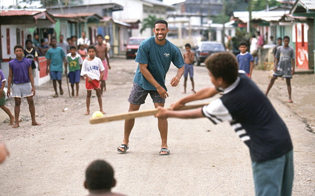 Mariano Rivera playing stickball in Panama.
