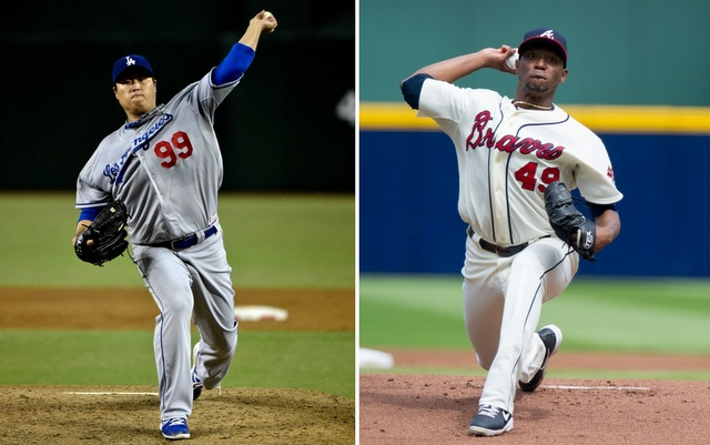 Hyun-Jin Ryu (left) and Julio Teheran will square off in Game 3 of the NLDS on Sunday.