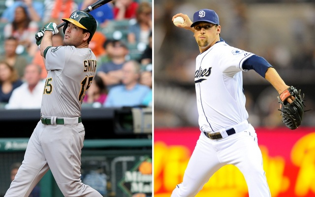 Seth Smith (left) is moving to Southern California while Luke Gregerson moves to the Bay Area.