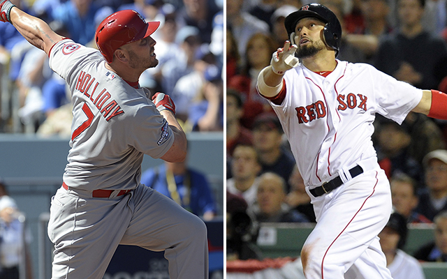 Matt Holliday's Cardinals are set to take on Shane Victorino's Red Sox in the Fall Classic.