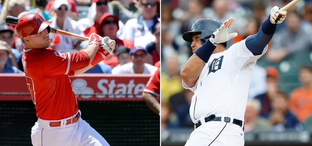 Neither Mike Trout (l.) nor Miguel Cabrera will be in this year's Home Run Derby.
