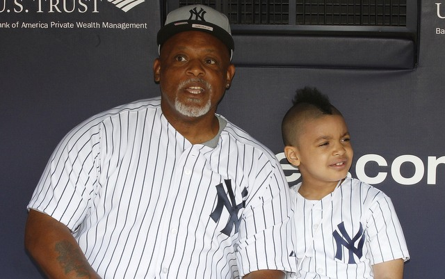 Cecil Fielder and grandson Grant in 2012.