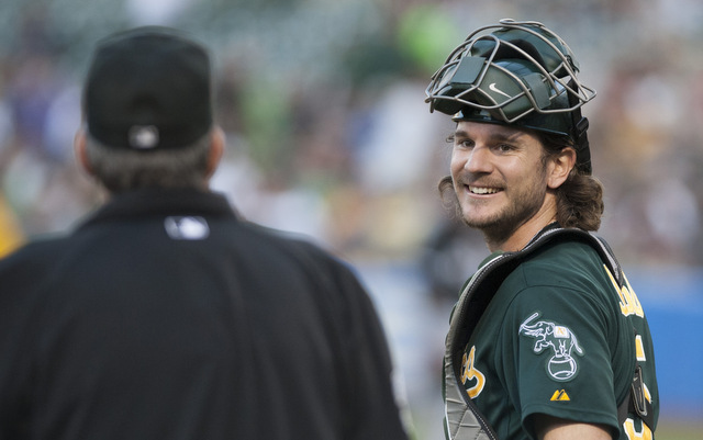 The A's will be without starting catcher John Jaso for at least a week.