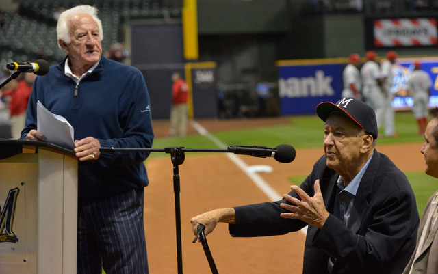 Johnny Logan (sitting) was honored at Miller Park last month.