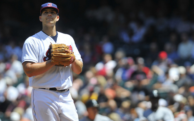 A rib cage problem forced Justin Masterson out of his start on Monday.