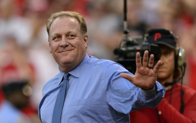 Curt Schilling at his Phillies Wall of Fame induction ceremony in 2013.
