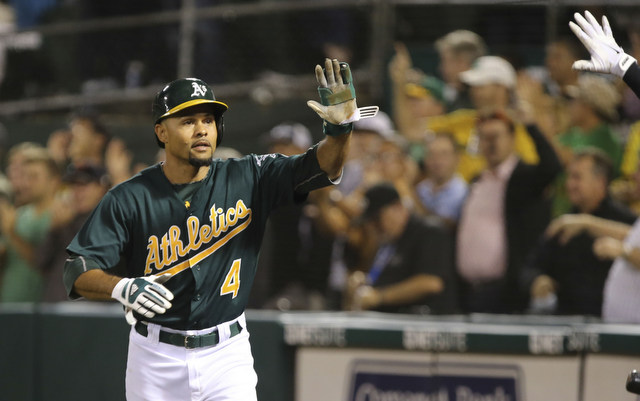 A foul ball forced Coco Crisp out of Monday afternoon's game.