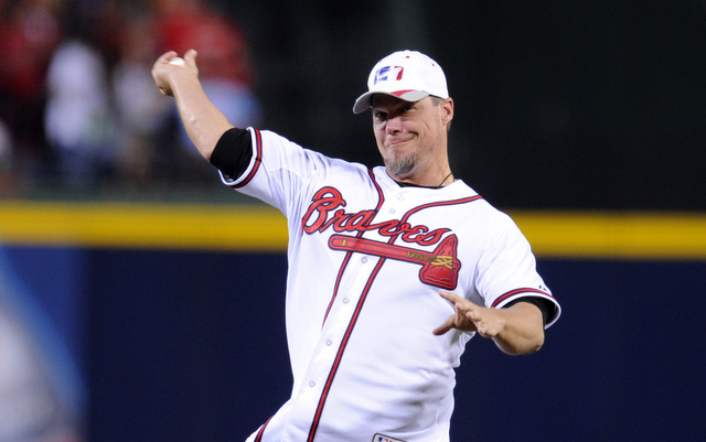 Chipper Jones had to throw the ceremonial first pitch to the Braves mascot in Game 1.