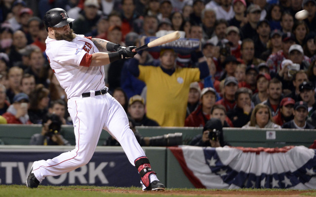 The Red Sox are trying to figure out a way to keep Mike Napoli's bat in the lineup for Games 3-5.