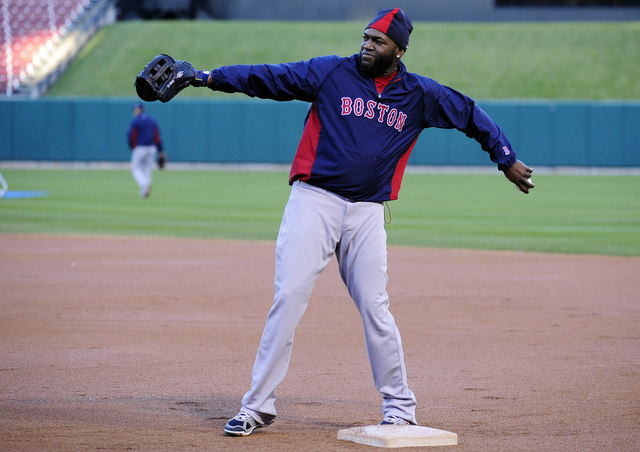 David Ortiz gets in some work at first base in preparation to play there in Game 3.