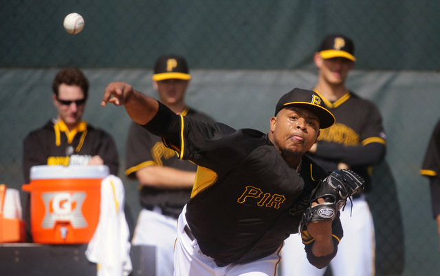 New Pirate Edinson Volquez gets warmed up for the season.