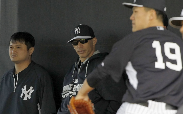 Yankees skipper Joe Girardi gets his first look at Masahiro Tanaka in the bullpen.