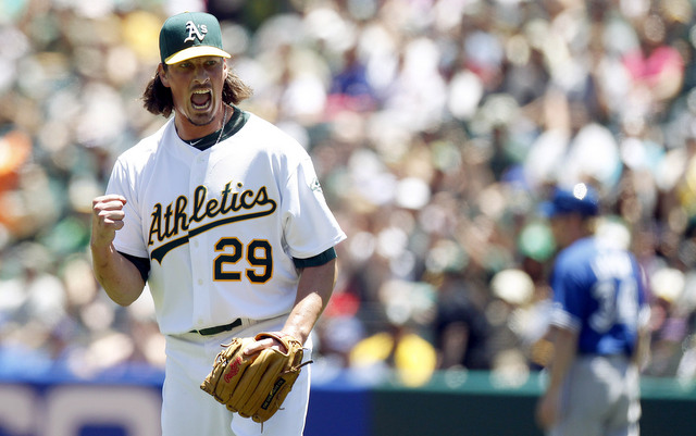 Jeff Samardzija is in line for the win in his first start with the A's.