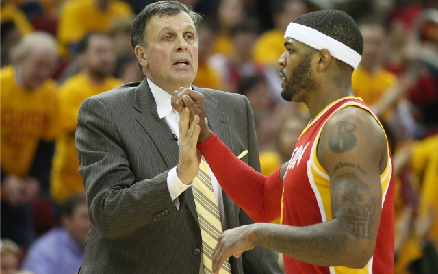 A less excited Josh Smith with Kevin McHale.