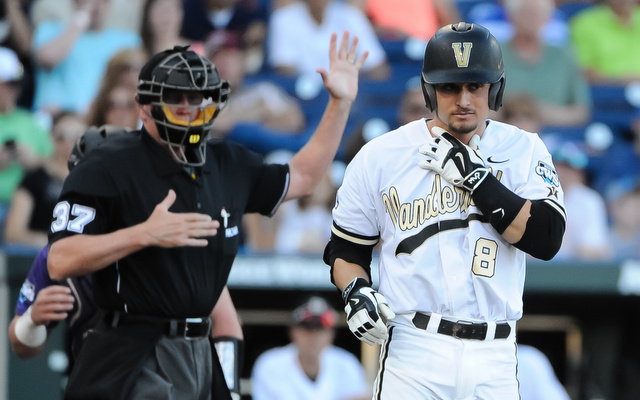Vandy's Rhett Wiseman took a pitch to the neck on Friday. He stayed in the game.