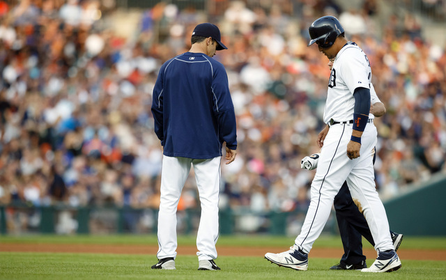 Miguel Cabrera had to walk off the field with the trainer on Friday.