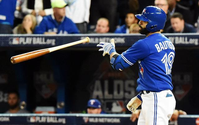 Jose Bautista's bat flip upset Sam Dyson and the Rangers.