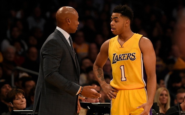 Byron Scott and D'Angelo Russell try to see eye-to-eye.