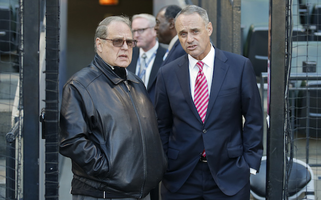 Commissioner Rob Manfred (left) recently visited Jerry Reinsdorf and the White Sox and talked expansion.