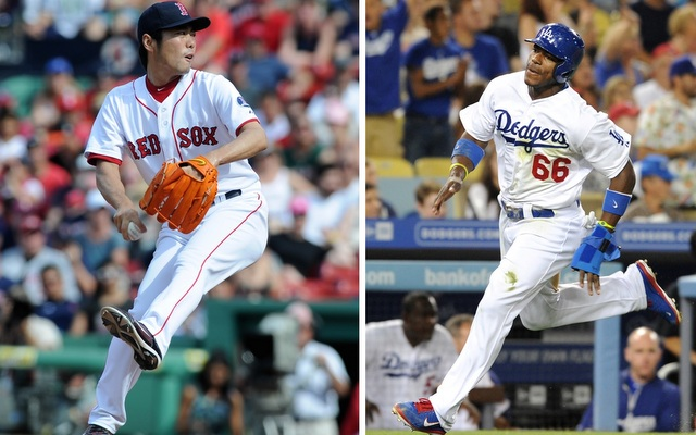Koji Uehara (left) and Yasiel Puig are two of ten players included in the Final Vote. (USATSI)