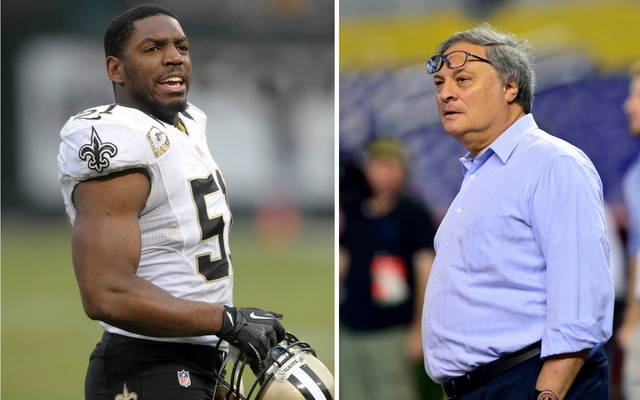Jonathan Vilma (left) is in a legal battle with Jeffrey Loria's Marlins.
