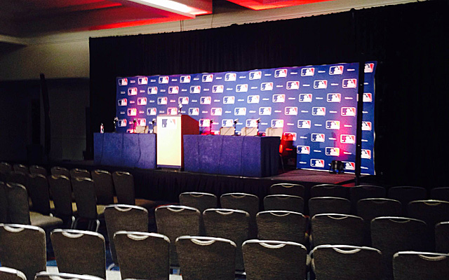 The setting for the press conferences at the Winter Meetings.