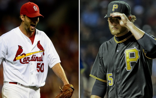 Adam Wainwright (left) and Gerrit Cole are set to square off in Game 5 tonight.