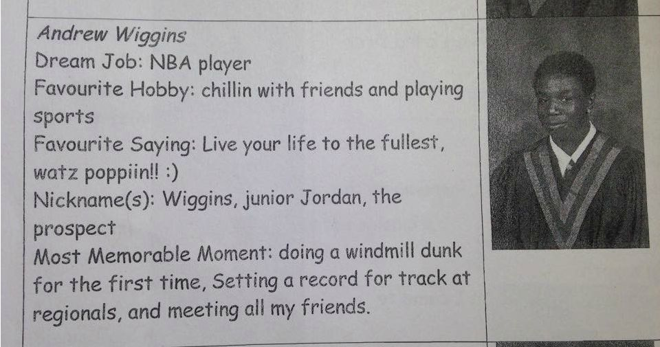 Andrew Wiggins had a lot of nicknames in 8th grade.