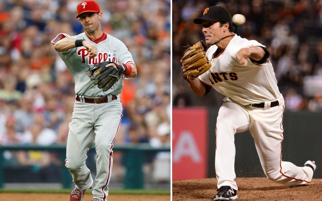 Michael Young (left) and Javier Lopez (right) are two prime pieces of August trade bait.