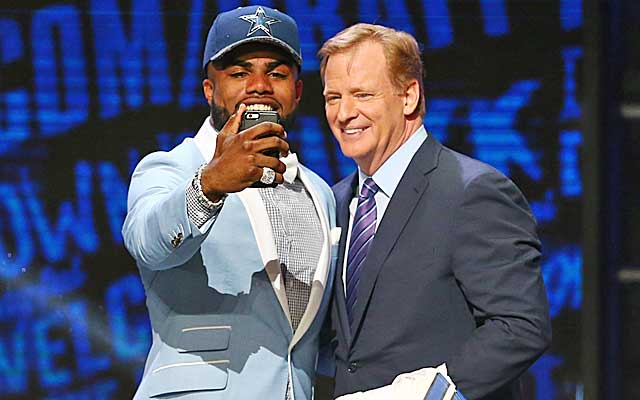 Ezekiel Elliott (left) is the new top back in Dallas. (NFL Network screen grab)