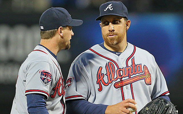 Aaron Harang had a rough outing Wednesday night for the Braves.
