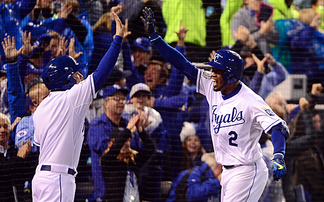 Alcides Escobar had an inside-the-park homer to lead off the bottom of the first.