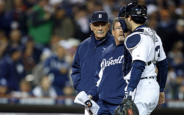 Tigers catcher Alex Avila was removed from Game 5 after taking a beating behind the plate.