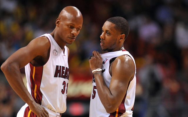 Ray Allen and Mario Chalmers could both play their last game with Miami Sunday.  (USATSI)
