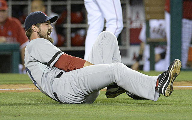 This injury Saturday night cost Andrew Miller the rest of the season.