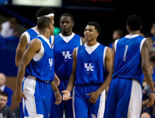 Freshman-laden Kentucky will need consistent performances from point guard Andrew Harrison (middle). (USATSI)