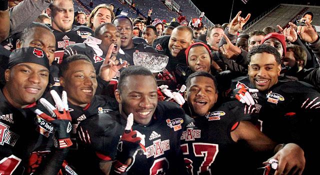 Arkansas State celebrates after beating Kent State last year. (USATSI)