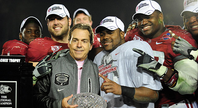 Nick Saban and the Crimson Tide celebrate after beating Texas. (USATSI)
