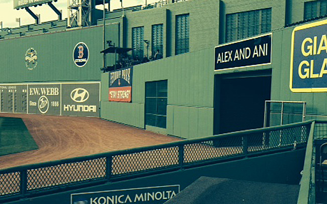 See the chain link screen in the middle of the center-field wall? That's a bar.