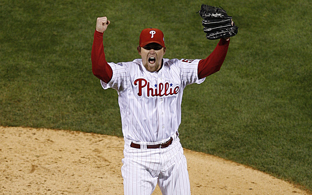 Brad Lidge celebrates closing down the World Series championship.