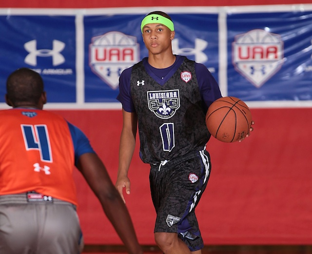 Brandon Sampson showed off terrific passing ability at the Fab 48. (Under Armour/Kelly Kline)