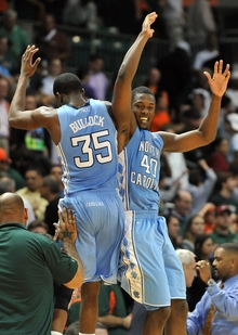 Freshmen Reggie Bullock and Harrison Barnes celebrate a win at Miami