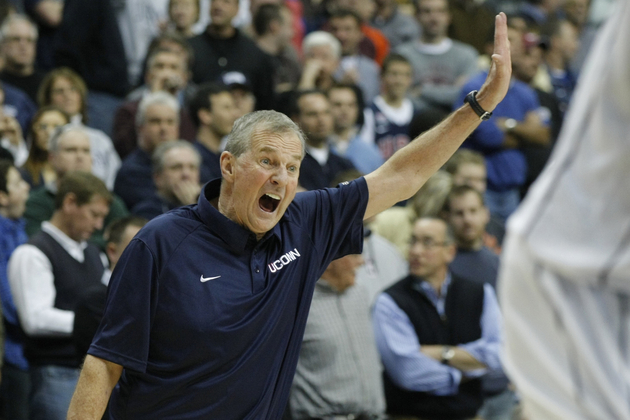 Is Jim Calhoun reacting to his NCAA wrist slap?