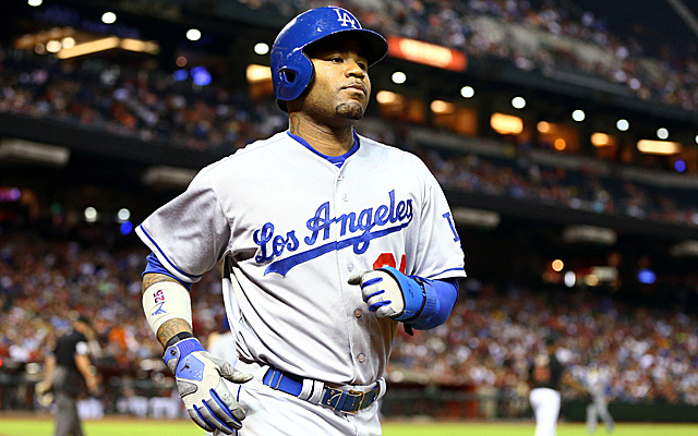 Carl Crawford seems to be very happy he's wearing this uniform now.
